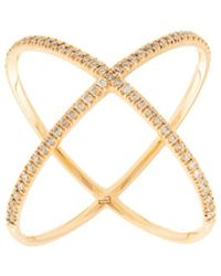 Eva Fehren - 18kt Rose Gold X Diamond Ring - Lyst