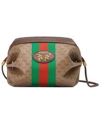 1d5a3328cc81c Lyst - Gucci Lady Web Medium Leather Shoulder Bag in Brown