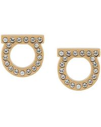 Ferragamo - Gancini Embellished Earrings - Lyst