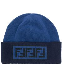 Fendi Jacquard Monogram Bobble Hat in Blue for Men - Lyst a79151a182d2