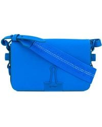 Off-White c/o Virgil Abloh Mini Flap Bag In Blue Calfskin
