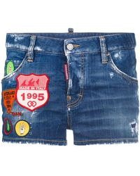 DSquared² - Cool Girl Scout Patches Denim Shorts - Lyst