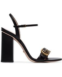 b9608caaddd Gucci - Marmont 110 Chunky Heel Leather Sandals - Lyst