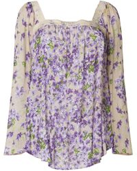 Twin Set | Sheer Floral Long-sleeve Blouse | Lyst