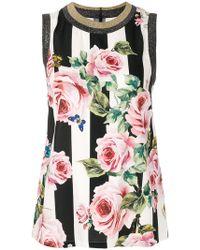 Dolce & Gabbana - Striped Rose Print Tank Top - Lyst
