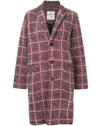 Coohem Check Tweed Coat - Red