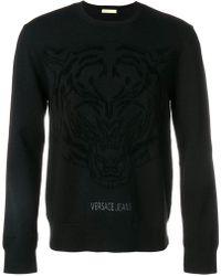 Versace Jeans - Crew Neck Logo Printed Jumper - Lyst