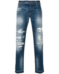 Dolce & Gabbana - Destroyed Patchwork Classic Jeans - Lyst