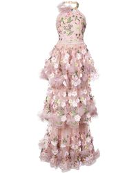 Marchesa notte Floral-appliquéd Tiered Ruffled Gown
