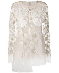 Stella McCartney | Odette Embroidered Tulle Blouse | Lyst