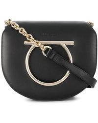 Ferragamo - Gancino Black Leather Bag - Lyst f4d59ba357603
