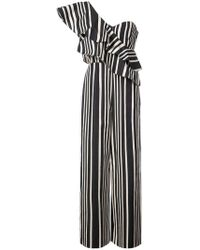 Alice + Olivia - Striped One Shoulder Jumpsuit - Lyst