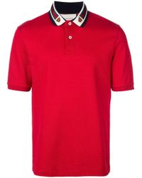 8cdfbf390 Gucci Cotton Polo With Web And Bee in White for Men - Lyst