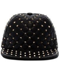 Valentino - Black Rockstud Leather Cap - Lyst