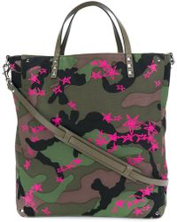 Valentino - Star Print Camouflage Shopping Bag - Lyst