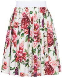 Dolce & Gabbana - High Waisted Peony Print Cotton Skirt - Lyst