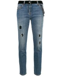 Boutique Moschino - Distressed Cropped Jeans - Lyst