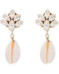 Anton Heunis - Metallic Puka Shell Drop Crystal Earrings - Lyst