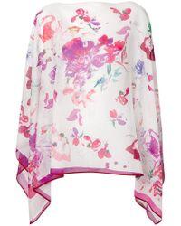 Emanuel Ungaro - Floral Print Handkerchief Hem Top - Lyst