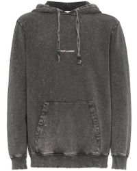 Saint Laurent - Distressed Logo Hoodie - Lyst