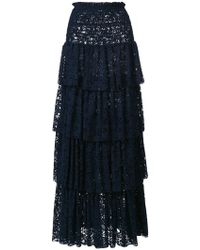 Pinko - Tiered Lace Maxi Skirt - Lyst
