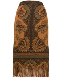 Etro - Fringed Printed Skirt - Lyst