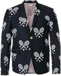 Thom Browne - High Armhole Single Breasted Sport Coat In Super 120's Twill With Broderie Anglaise Tennis Racket Half Drop - Lyst