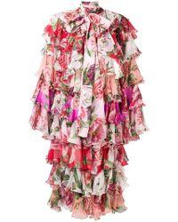 Dolce & Gabbana - Peony And Rose Ruffled Chiffon Coat - Lyst