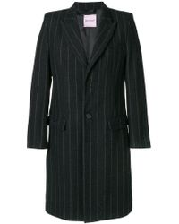 Palm Angels - Striped Single Breasted Coat - Lyst