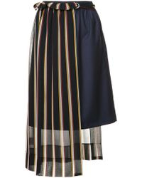 Guild Prime - Striped Asymmetric Midi Skirt - Lyst