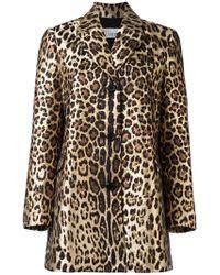RED Valentino - Leopard Print Midi Coat - Lyst