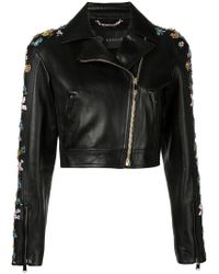 Versace - Floral Embroidery Cropped Jacket - Lyst
