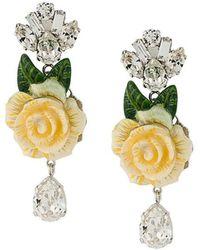 10a0f4efe20e Dolce   Gabbana - Pendientes con rosa y cristales colgantes - Lyst