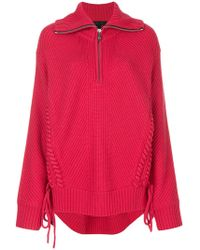 Barbara Bui | Lace-up Detail Ribbed Knit Jumper | Lyst