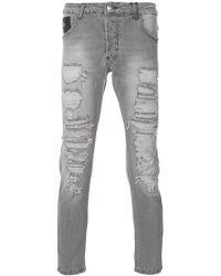 John Richmond - Destroyed Slim Jeans - Lyst