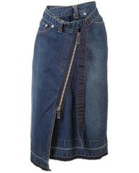 Sacai - Deconstructed Denim Skirt - Lyst