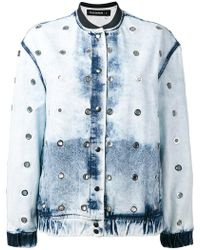 Filles A Papa - Bleached Effect Bomber Jacket - Lyst