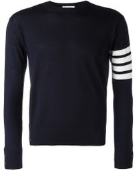 Thom Browne - Crewneck Pullover With 4-bar Stripe In Navy Merino - Lyst