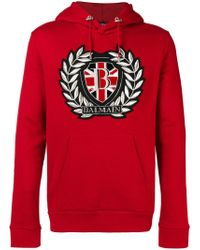 Balmain - Embroidered Logo Patch Hoodie - Lyst
