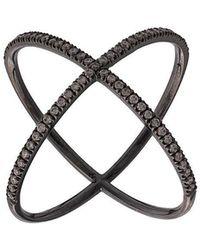 Eva Fehren - Crossed Double Diamond-ring - Lyst