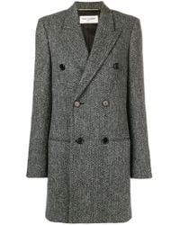 Saint Laurent - Chevron Double-breasted Coat - Lyst