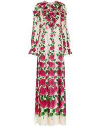 6a44a72ef Gucci - Vestido largo con estampado de rosas - Lyst