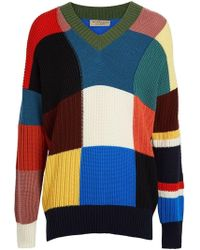 Burberry - Patchwork Wool V-neck Sweater - Lyst