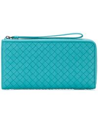 Bottega Veneta - Aqua Intrecciato Nappa Zip-around Wallet - Lyst