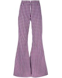 House of Holland - Flared Gingham Trousers - Lyst
