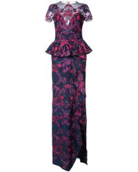 Marchesa notte - Floral Embroidered Maxi Dress - Lyst