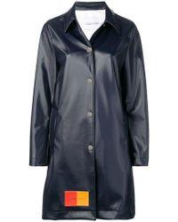 Calvin Klein - Two-tone Logo Patch Long Coat - Lyst