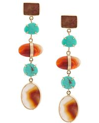 Melissa Joy Manning - 14kt Yellow Gold Agate & Turquoise Earrings - Lyst