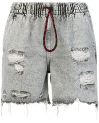 T By Alexander Wang - Distressed Denim Shorts - Lyst