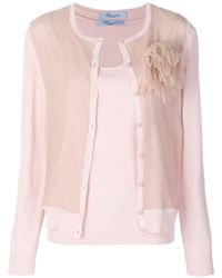Blumarine - Feather Pocket Cardigan - Lyst